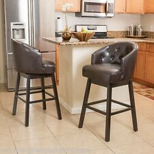 Set of 2 Contemporary Brown Leather Swivel Backed Barstools