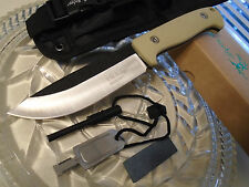 Elk Ridge Bushcraft Survival Hunter Dagger Bowie Knife Fire Starter Set Tan 555T