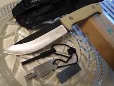 Elk Ridge Bushcraft Survival Hunter Dagger Bowie Knife Fire Starter Set Tan 555T