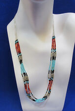 Sterling Silver Turquoise Heishi Beads & Spiney Oyster Shell Necklace 5 Strands