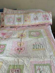 Pottery Barn Kids  Baby Crib Quilt Bumper Embroidered Hearts Flowers Pink Green