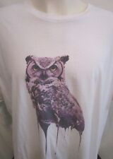 Melting Owl Graphic White Mens T Shirt Size XL