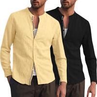 Men's Linen Long Sleeve Solid Shirts Collarless Loose Fit Formal Dress Top Shirt