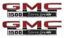 1971-1972 GMC Pick Up Truck Front Fender Emblem 1500 Sierra Grande Pair