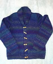 Handmade blue mix cowl neck cardigan with wooden toggles age 8-9yrs vgc