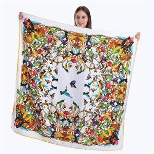 Twill Seide Schal Kolibri Tuch Shawl Wrap Damen große quadratische Schals 130cm