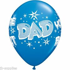 """11"""" BLUE DADDY """"DAD"""" YOURE THE BEST LATEX BALLOONS qty 6 PARTY QUALATEX 28235"""