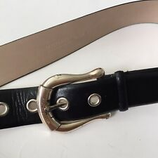 "MICHAEL Michael Kors Black Genuine Leather Belt Women's Size S 37"" Silver Buckle"