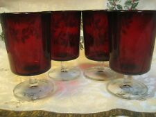 "ARCOROC 4 RUBY RED CAVALIER Goblet D'Arques  Luminarc 5 1/4"" FRANCE  EUC  Lot C"