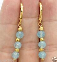 Fashion Genuine Natural Blue Aquamarine Gemstone Gold Leverback Dangle Earrings