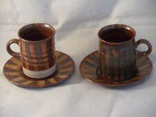 Langton Studio Pottery Cups & Saucers By Gordon Plahn Stoneware Kent 1960-1977