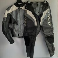 Proto Two 2 Piece Motorbike Leather Motorcycle Jacket Trouser Grey/Black Sz 46
