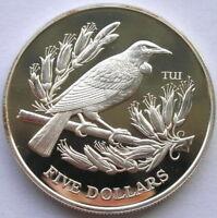New Zealand 1995 Tui Bird 5 Dollars Silver Coin,Proof