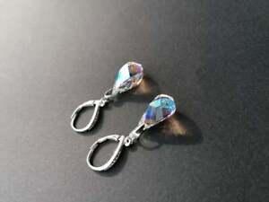 925 Sterling Silber  Ohrringe mit SWAROVSKI ELEMENTS helix blue ab blau