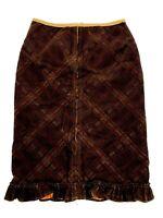 Free People Womens Sz 6 Brown Plaid Corduroy Skirt Ruffle Hem Knee Length Pencil