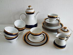 Geschirrteile Speise- Kaffeeservice Kobaltblau Goldrand Winterling 60er 70er