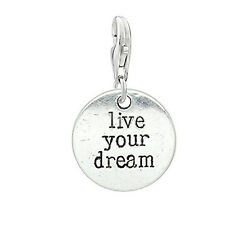 Live Your Dream Charm for European Clip on Jewelry w/ Lobster Clasp