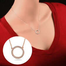 Shiny Paved Tiny Crysral Circle Round Pendant Necklace Women Party Jewelry
