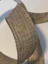 """GOLD WIRE EDGED RIBBON 1-1/2"""" x 5 Yards Christmas"""