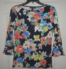New Ralph Lauren Floral Print Navy Blouse Top 3/4 Sleeve XL X-Large Pretty NWT