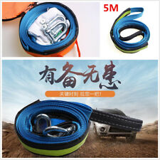 1X Portable Car Tow Cable Rope Road Recovery Straps 5M 8 Ton Hooks Glow At Night