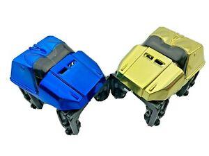 2 Knex Roller Coaster Cars Chrome Blue & Gold - Micro K'nex Parts