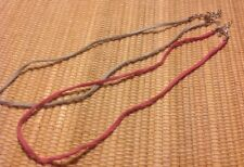 Premier Designs Jewelry Imagination Suede Necklaces Pink And Slate Blue LOT Of 2