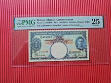 More details for malaya / british administration pmg 25 very fine pick# 11 knb11 1941-45 1 dollar