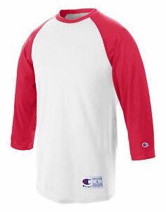 Champion T-Shirt Tee Baseball Raglan Long Sleeve Tag Free Ribbed 100% Cotton Men