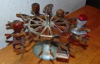 Old Vintage Standard Ink Stamp Holder Carousel Ornate Rack With Stamps must have