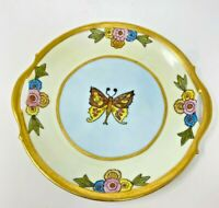 VINTAGE BAVARIA P & M  GOLD GILDED HAND PAINTED BUTTERFLY DISH W/HANDLES