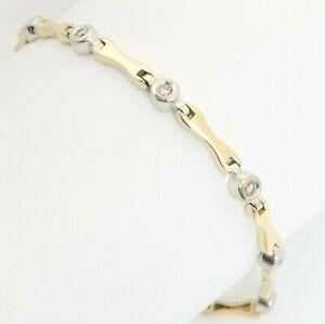 14ct Gold Brilliant Cut Collet Set Diamond Line 14K Tennis Bracelet 18cm 10.7g