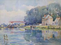 L Yonne Per Senso, Acquerello Firmato Ricard Neo Impressionismo Senonai Borgogna