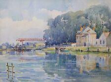 L'Yonne à Sens,aquarelle signée RICARD néo impressionnisme Sénonai Bourgogne