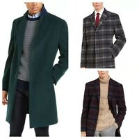mens tommy hilfiger Addison wool overcoat coat green red gray plaid ALL SIZES
