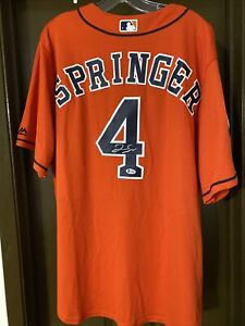 George Springer Signed Autographed Authentic Majestic Cool Base Jersey WS 2017