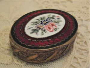 TINY ANTIQUE FRENCH ENAMEL ORMOLU COMPACT PATCH BOX, HINGED, MIRRORED LID FRANCE