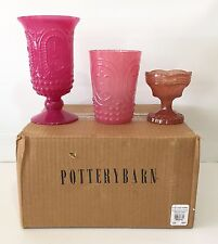 NEW IN BOX Pottery Barn Pressed Glass Votives, SET OF 3
