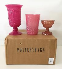 POTTERY BARN Pressed Glass Votives, SET OF 3, NEW IN BOX