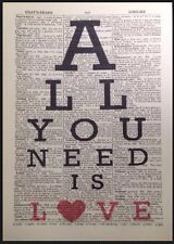 All You Need Is Love Impresa Vintage Diccionario Página Decoración de Pared
