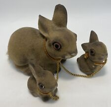Vintage Norleans Flocked Fuzzy Mother Rabbit w Babies on Chains - Japan