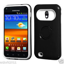 Sprint Samsung Galaxy S2 4G Hybrid Hard Case Skin Cover w/Stand Black White