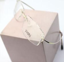 Luxury Titanium Light Gold Eyeglasses Frame Rimless Spectacles Rx Clear Lenses