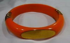 HSN Bajalia Orange Resin Bangle Bracelet with Brass Accents