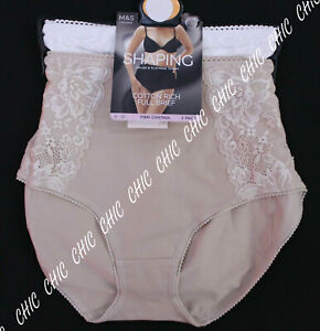 M&S 2PACK SHAPING FIRM CONTROL COTTON RICH FULL BRIEF KNICKERS,PANTIES BNWT 10
