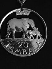 Elephant and Calf Cut Coin Pendant from Malawi 1996
