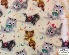 RPFMM78A RARE Kitty Kittens Cat Retro Vintage Cute Bows Cat Cotton Quilt Fabric
