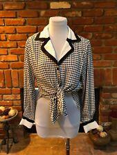 VTG 80s Punk Pinup CHIC S / M Versatile Blouse Black White Herringbone Shirt Top