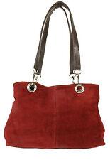 Italian Genuine Suede Leather Shoulder Bag Top Handle Expandable Handbag Fashion