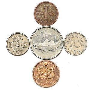 5 SCANDINAVIAN COINS FROM DENMARK, NORWAY, SWEDEN, FINLAND, ICELAND NORDIC COINS